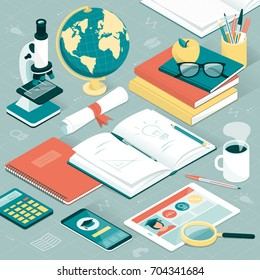 University student and researcher desktop with books, tablet, smartphone, microscope and other supplies; learning and education concept