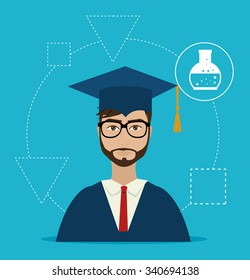 University students graduation graphic design, vector illustration eps10