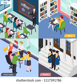University students in library lecture classroom busy with project 4 isometric college life concept icons vector illustration