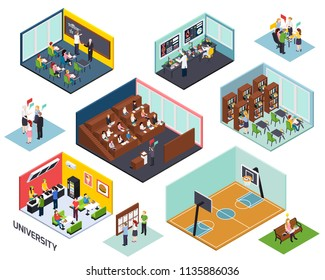 University study concept 10 isometric compositions set with classroom lecture library project sport outdoor isolated vector illustration