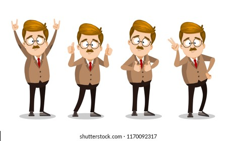 University teacher character in glasses showing different hand gestures. Lecturer doing thumbs up, v sign and rock gestures vector illustration. Funny mustache professor personage in suit and tie