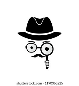 Unknown man with a mustache in hat, spectacles and a magnifying glass in hand. Inspector. Detective icon.