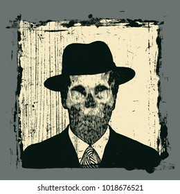 Unknown Man With A Skull Instead Of A Face, In A Retro Hat. Vector Illustration.
