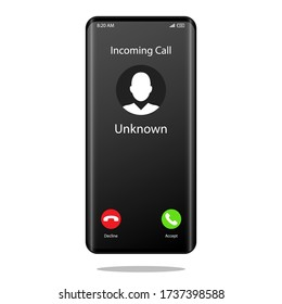 Unknown number calling Mobile Phone Interface Illustration Vector