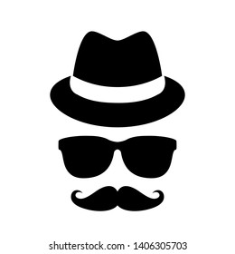 Unknown person in black glasses vector icon on white background