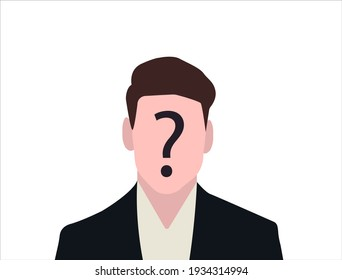 Unknown person concept. Human head with no face and question mark. Anonymous person