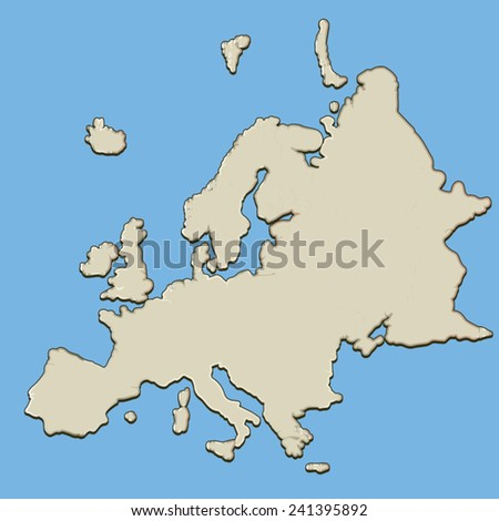 Unlabelled Map European Continent Behind Blue Stock Vector Royalty