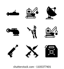 unleaded, broken, collection and medieval icons in War vector set. Graphics for web and design