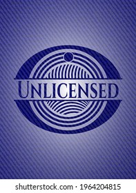 Unlicensed with jean texture. Vector Illustration. Detailed.