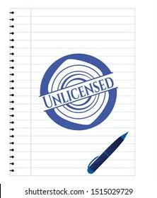 Unlicensed pen emblem. Blue ink. Vector Illustration. Detailed.