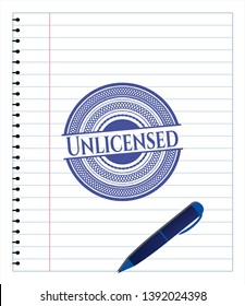 Unlicensed with pen strokes. Blue ink. Vector Illustration. Detailed.