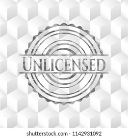 Unlicensed realistic grey emblem with geometric cube white background