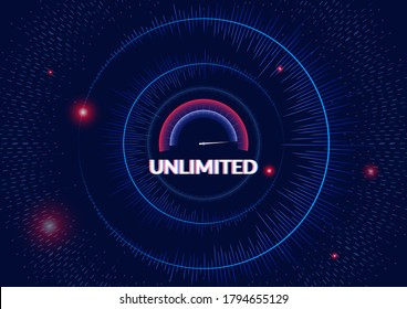 The unlimited concept for technology abstract background. Mile console and circular dynamic shape show about many speed that can accelerate to the speed of light.