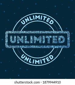 Unlimited. Glowing round badge. Network style geometric unlimited stamp in space. Vector illustration.