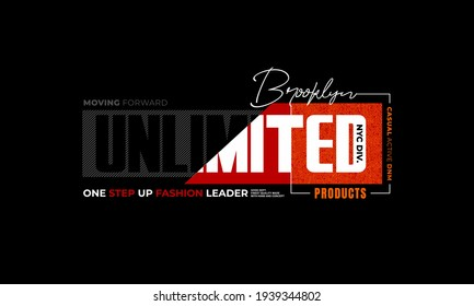 unlimited products, brooklyn, typography graphic design, for t-shirt prints, vector illustration