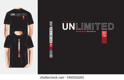 UNLIMITED typography . New concept t shirt graphics vectors.