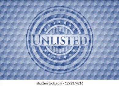 Unlisted blue emblem or badge with abstract geometric polygonal pattern background.