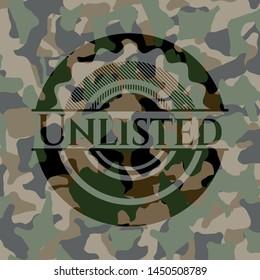 Unlisted camouflage emblem. Vector Illustration. Detailed.