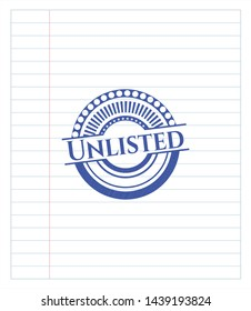 Unlisted draw with pen effect. Blue ink. Vector Illustration. Detailed.