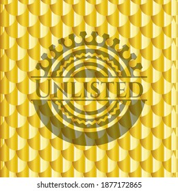 Unlisted gold badge. Scales pattern. Vector Illustration. Detailed.