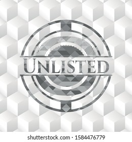 Unlisted grey badge with geometric cube white background