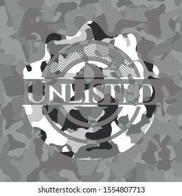 Unlisted grey camo emblem. Vector Illustration.