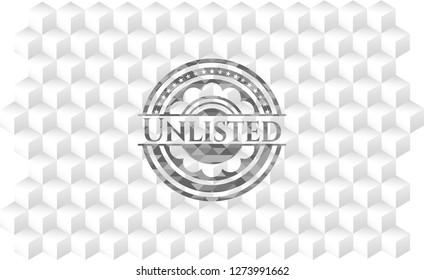 Unlisted grey emblem with geometric cube white background