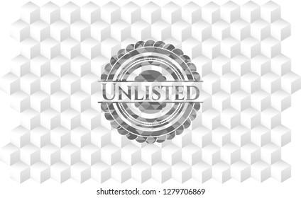 Unlisted grey emblem. Retro with geometric cube white background