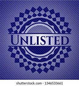 Unlisted jean or denim emblem or badge background