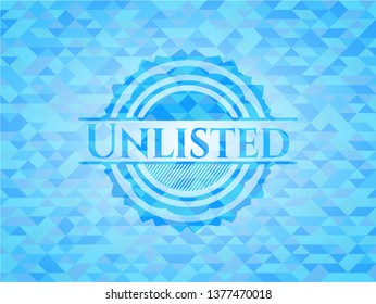 Unlisted light blue emblem with triangle mosaic background