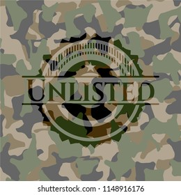 Unlisted on camouflage texture