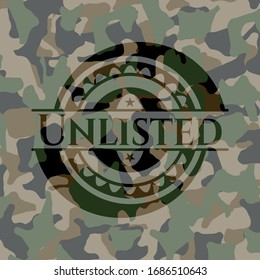 Unlisted on camouflage texture. Vector Illustration. Detailed.