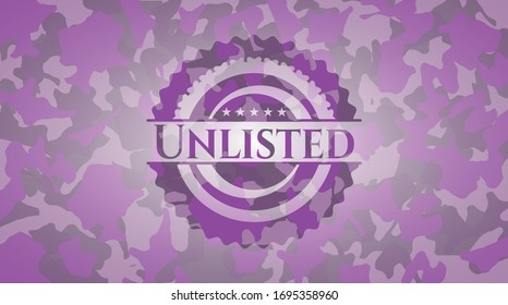 Unlisted pink on camo texture. Vector Illustration. Detailed.