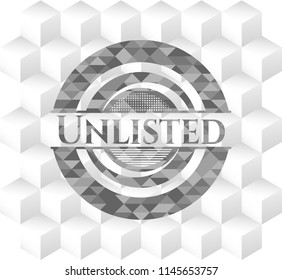 Unlisted realistic grey emblem with geometric cube white background