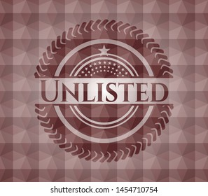 Unlisted red badge with geometric background. Seamless.
