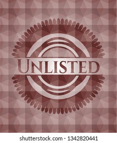 Unlisted red seamless badge with geometric background.