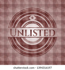 Unlisted red seamless badge with geometric pattern background.