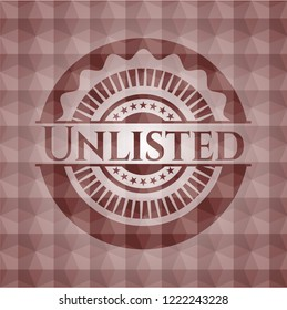 Unlisted red seamless emblem or badge with abstract geometric pattern background.