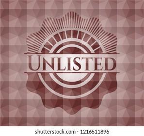 Unlisted red seamless geometric pattern emblem. Seamless.