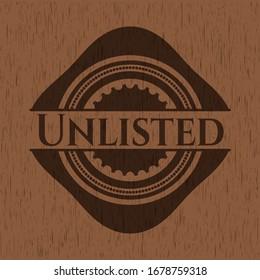 Unlisted retro style wooden emblem. Vector Illustration.