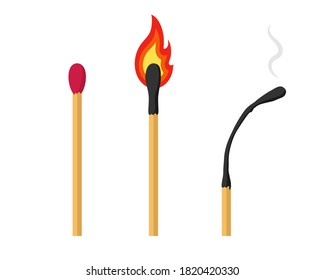 Unlit, Burning and Burnt Match. Set of matchsticks isolated on a white background. Vector illustration.