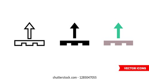 Unload cargo icon of 3 types: color, black and white, outline. Isolated vector sign symbol.