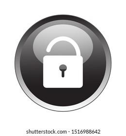 Unlock Button Icon Vector Design. Unlock Button Icon Vector Design with glossy gradient. Unlock Button Vector design illustration for electronic. web icon push-button Unlock.