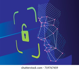 Unlock face ID scan vector