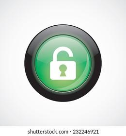 unlock glass sign icon green shiny button. ui website button