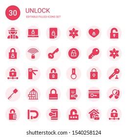unlock icon set. Collection of 30 filled unlock icons included Detective, Login, Unlocked, Shuriken, Padlock, Key, Unlock, Lock, Access, Locked, Key chain, Freedom, Key card