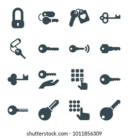 Unlock icons. set of 16 editable filled unlock icons such as key, lock, hand on atm, heart key