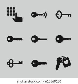 Unlock icons set. set of 9 unlock filled icons such as key, heart key