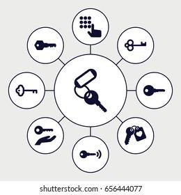 Unlock icons set. set of 9 unlock filled icons such as key, heart key, key on hand