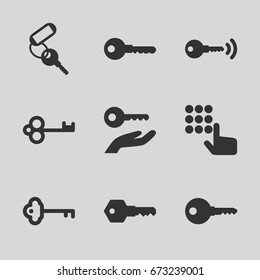 Unlock icons set. set of 9 unlock filled icons such as key, key on hand